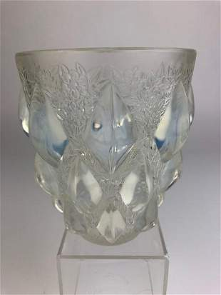 "R. Lalique ""Rampillion"" vase in opalescent glass."