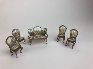 Austrian painted enamel miniature furniture