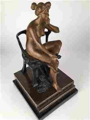 Godard bronze. Art deco patinated figural sculpture.