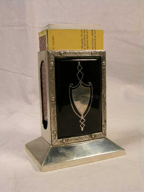 1015: NATURAL SHELL AND STERLING SILVER MATCH BOX AND S