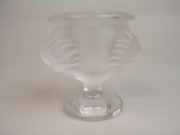 1022: LALIQUE (FRANCE) FROSTED CRYSTAL LIONS HEAD LIGHT