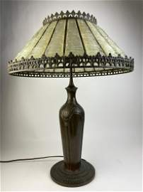 Tiffany Studios opaque white linen fold shade and