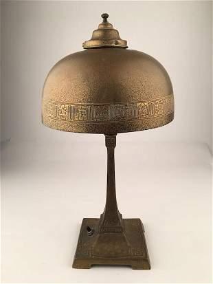 Tiffany Studios Bronze Desk Lamp in a Greek Key