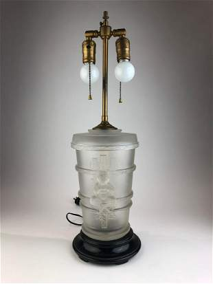 Lalique table lamp in frosty glass. Decorated with a