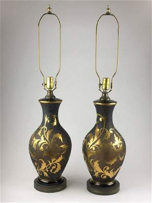 A pair of Fuger Taube W. Germany cameo art glass lamps