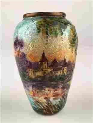 Enamel on copper vase, signed Garnet France.