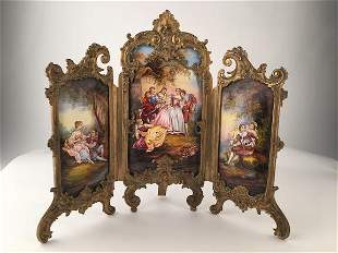 Antique French enamel and gold dore bronze three panel