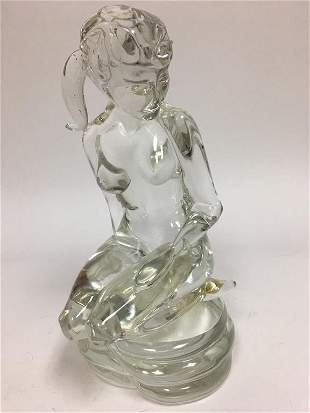 Clear glass nude figure of a nude.