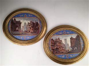A pair of antique painted oval plaques, each of an old