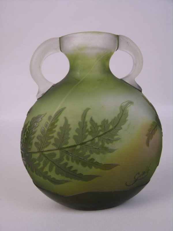 1: GALLE APPLIED HANDLE CAMEO VASE.