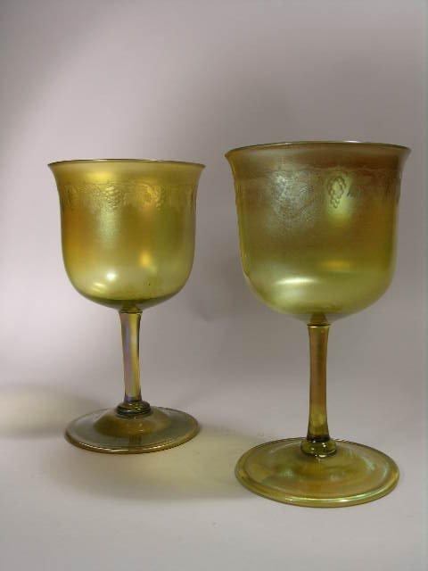 10: TIFFANY FAVRILE GOLD IRIDESCENT GLASSES.