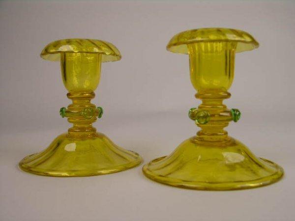 19: PAIR OF STEUBEN ART GLASS CANDLESTICKS.