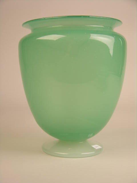 22: STEUBEN ART GLASS GREEN VASE.