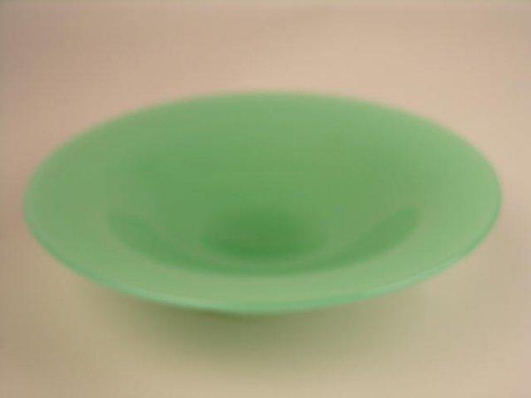 23: STEUBEN ART GLASS GREEN BOWL.