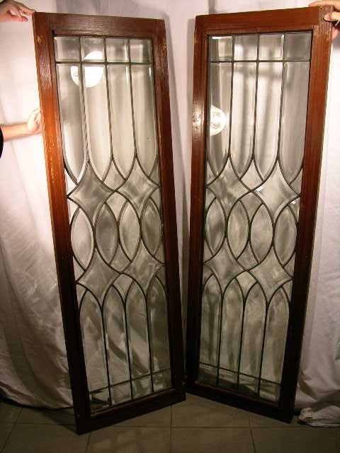 255: LEADED GLASS.  PAIR OF OLDER LEADED GLASS WINDOWS.
