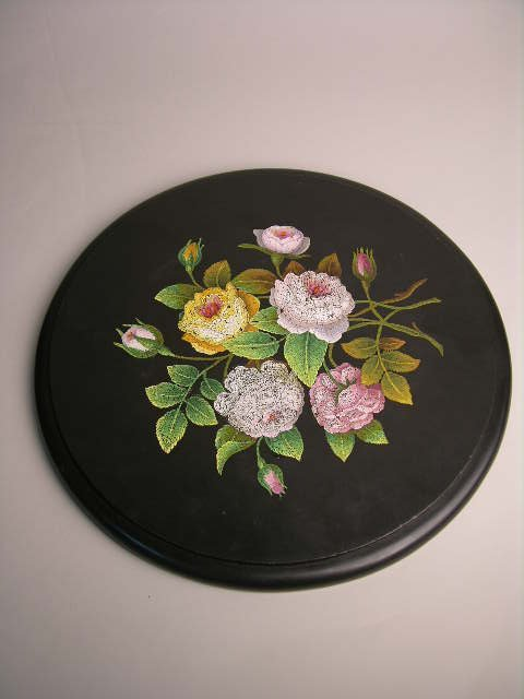 256: MICRO MOSAIC PLAQUE OF FLOWERS.