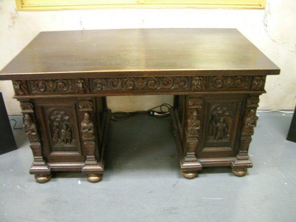 257: WALNUT DESK Carved  walnut wood desk with squared