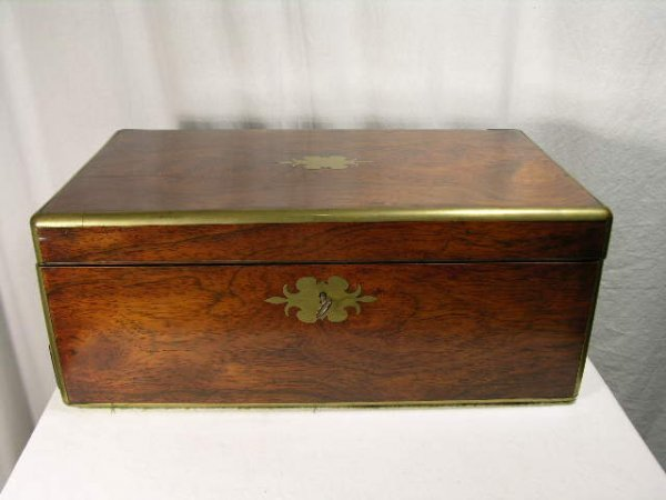 259: WRITING DESK WITH BRASS HANDLES AND ONE PULL OUT D