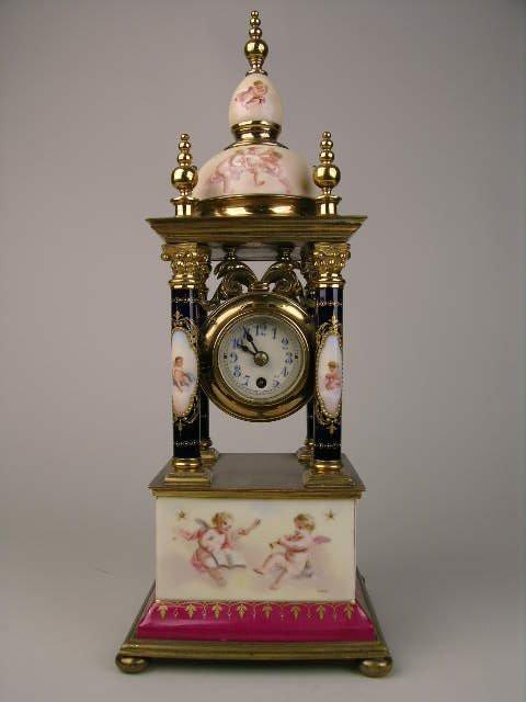 268: VIENNA PORCELAIN CLOCK.GUSTAV BECKER MOVERMENT.
