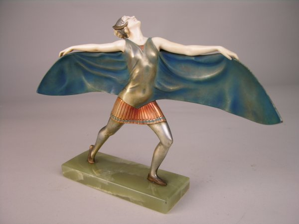 """10: BRONZE AND IVORY.  """"BAT DANCER"""" BRONZE AND IVORY BY"""
