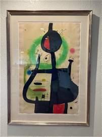 Joan Miro, (Spanish:1893-1983). Color aquatint etching