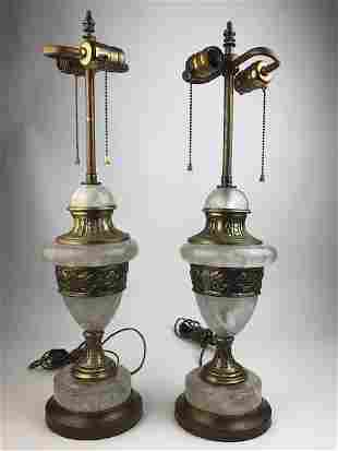 A pair of rock crystal and bronze lamps.