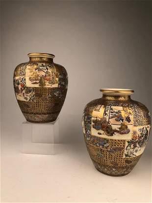 Exceptional pair of Japanese satsuma Meiji period vases