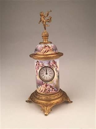 Vienna enamel painted bronze clock.