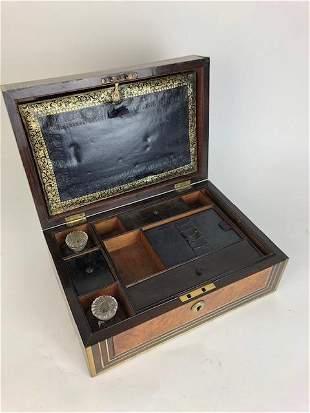 VICTORIAN BRASS INLAID BOX.