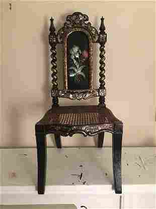 A very fine paper mache chair with mother of pearl