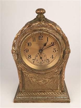Tiffany Studios gold dore bronze clock.
