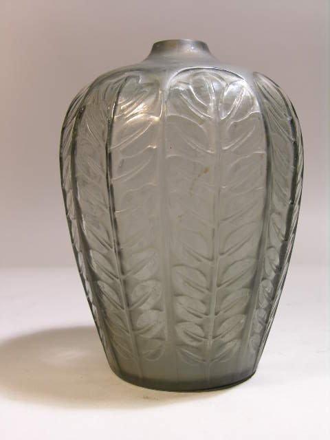 "R. LALIQUE TOURNAI VASE IN SMOKY GRAY GLASS. HEIGHT 5""."