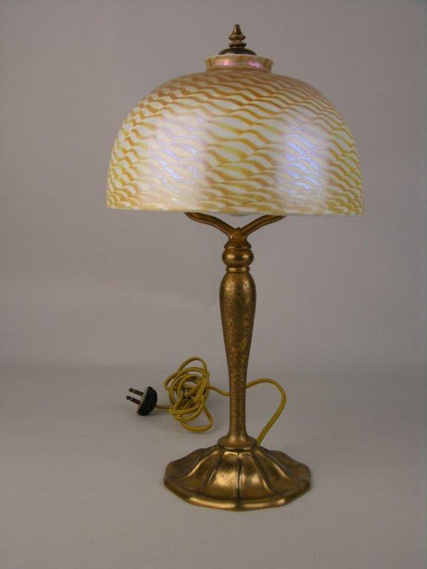 6: LOUIS COMFORT TIFFANY LAMP AND SHADE.
