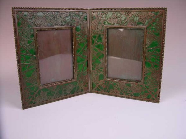 9: A TIFFANY STUDIOS DOUBLE PHOTO FRAME IN THE GRAPEVIN