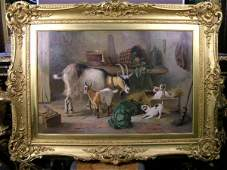 47 EDGAR HUNT OIL ON CANVAS WITH GOLD FRAME