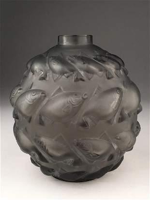 """R. Lalique """"Camaret"""" vase in a light grey glass."""