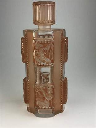 """R. Lalique """"Helene-1"""" perfume bottle inclear glass with"""