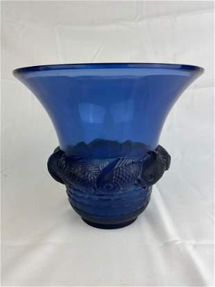 "Rene Lalique ""Piriac"" vase in blue glass."