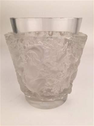 """Rene Lalique """"Bacchus"""" vase. Faintly acid etched"""