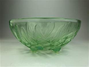 """Rene Lalique """"Gui"""" bowl in a light green glass."""