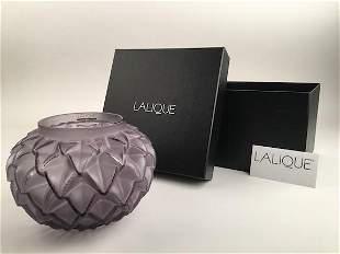 "Lalique ""Languedoc"" vase in violet glass with original"