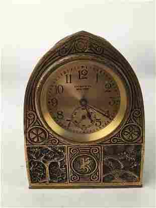 "Tiffany Studios ""Bookmark"" clock."