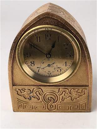 "Tiffany Studios ""Chinese"" pattern desk clock."