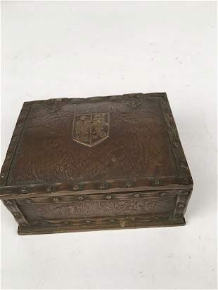 """Tiffany Studios desk box in the """"Heraldic"""" pattern"""