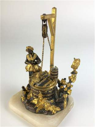 Viennese gold gilt and silver ink well and stamp