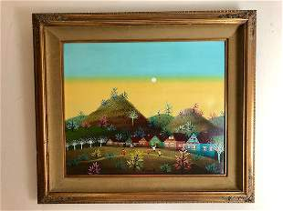 Blasnowski 20 th Century oil on canvas of a rural