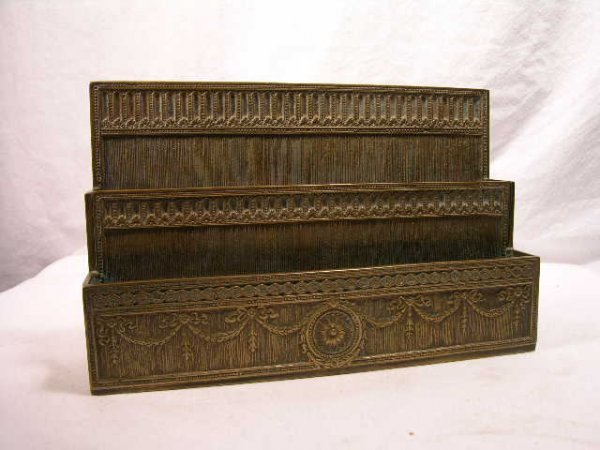 "13: TIFFANY STUDIOS ""ADAMS"" PAPER RACK."