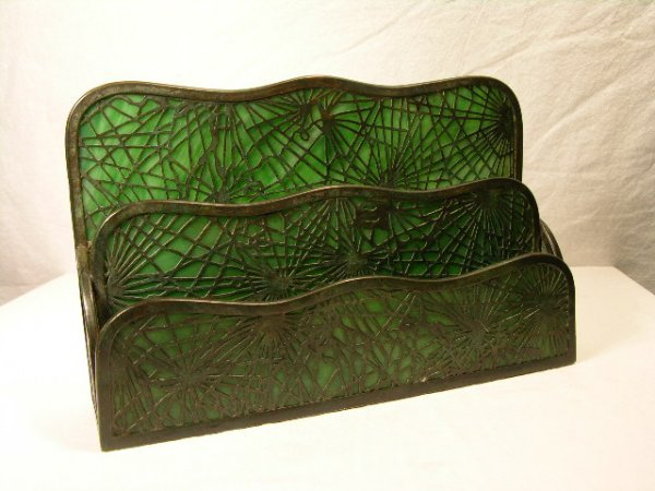 "14: TIFFANY STUDIOS PAPER RACK IN THE ""PINE NEEDLE"" PAT"