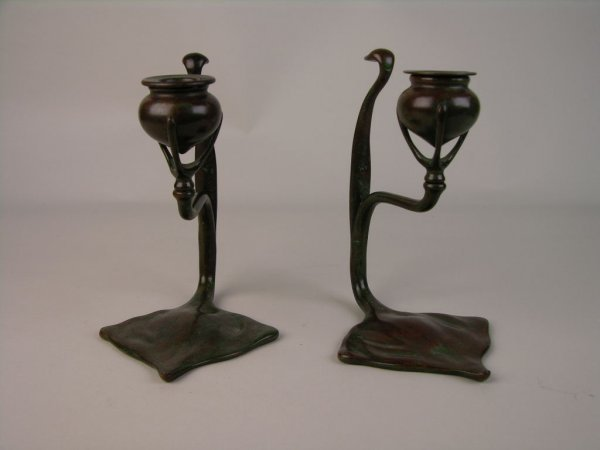 19: TIFFANY STUDIOS PAIR OF CANDLESTICKS.