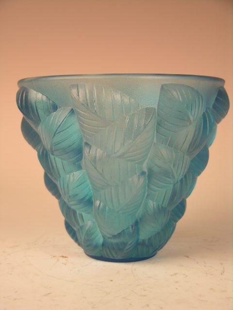 "2: R. LALIQUE ""MOISSAC"" GLASS VASE WITH BLUE PATINA."